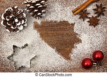 Festive motif of flour in the shape of Bosnia and...