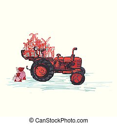Festive New Year 2019 card. Red tractor with holiday gifts isolated on white background