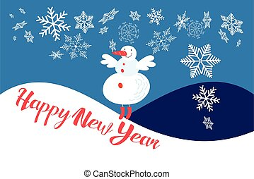 Festive new year card with a snowman