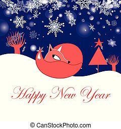 Festive New Year greeting card with fox on a blue background...