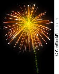 Festive orange fireworks at night
