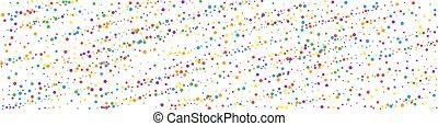 Festive overwhelming confetti. Celebration stars. Rainbow confetti on white background. Admirable festive overlay template. Panoramic vector background.
