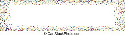 Festive overwhelming confetti. Celebration stars. Rainbow confetti on white background. Alive festive overlay template. Panoramic vector background.