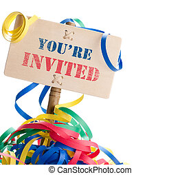 you are invited - festive panel where it is written you are...