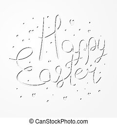 Festive paper cut Happy Easter text design
