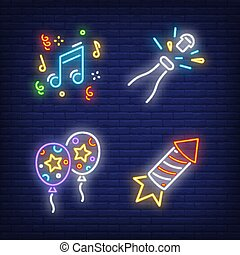 Festive party neon sign set. Air balloons