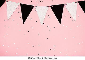 Festive pink background, flat lay - Festive background made...
