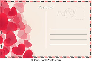 Postal card with red hearts