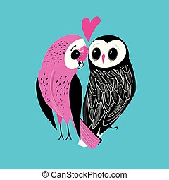 Festive postcard of big owls in love among hearts