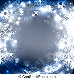 Festive postcard with glowing sparkles and snowflakes on a blurred background