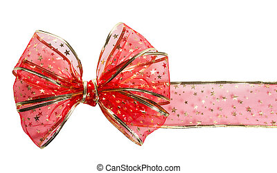 Festive red bow on white background