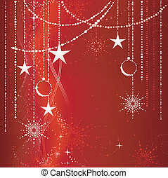 Festive red Christmas background with stars, snow flakes, ...