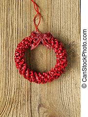 Festive red Christmas wreath