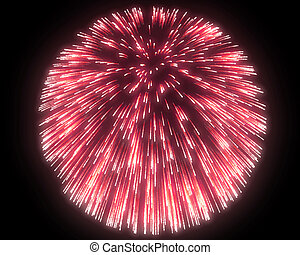 Festive red fireworks at night