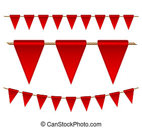 Festive red flags on white background