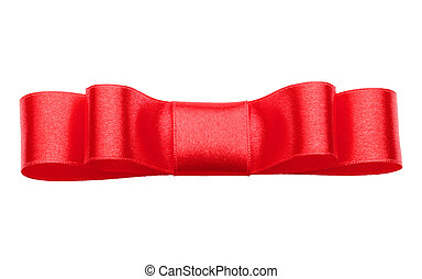 Festive red gift bow isolated on white background cutout