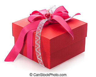 Festive red gift box with bow