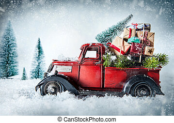 Festive red vintage truck with Christmas gifts