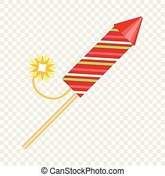 Festive rocket icon, flat style