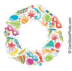 Festive round frame with carnival colorful objects, copy space for your text