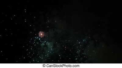 Festive salute in the sky - In the night sky a beautiful and...