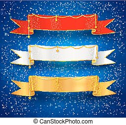 Festive satin ribbon banners with gold garland decoration on...