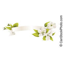 Festive satin ribbon garland flag with cherry flowers isolated on white background