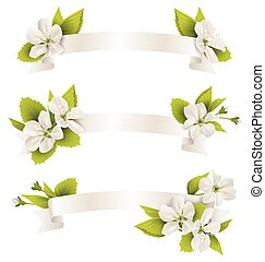 Festive satin ribbon garland flag with cherry flowers isolated on white