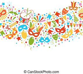 Festive Seamless Carnival Masquerade Card Isolated on White...