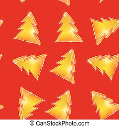Festive seamless pattern Christmas tree on the red background. vector