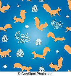 Festive seamless pattern of squirrel and snowflakes and an inscription with a new year, on a blue background,