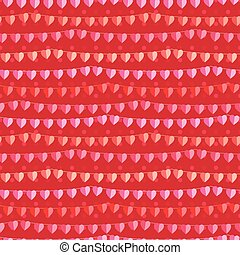 Festive seamless pattern with hanging hearts cut from paper