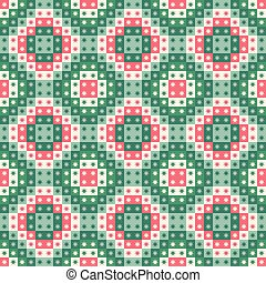 Festive seamless repeat pattern of geometric squares and stars. A Christmas vector design in green and red.