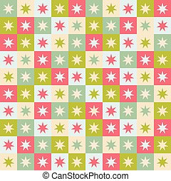 Festive seamless repeat pattern of geometric squares and stars. A Christmas vector design in green, red and cream.