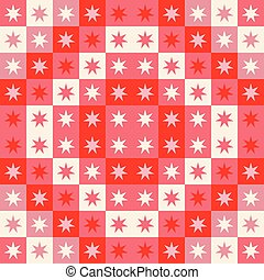 Festive seamless repeat pattern of geometric squares and stars. A Christmas vector design in red and cream.