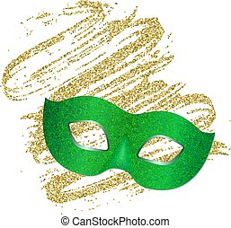 Festive shiny green mask on a golden abstract background. Carnival mask with shiny glitter texture. Venetian carnival mardi gras party. Vector Design with carnival symbol