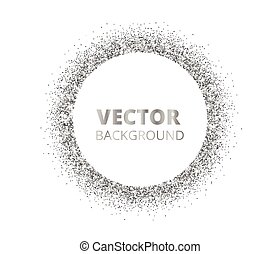 Festive silver sparkle background. Glitter border, circle...