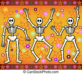 Three festive skeletons jump and dance around - bordered by colorful stars and flowers - great for Halloween or Dia de los Muertos