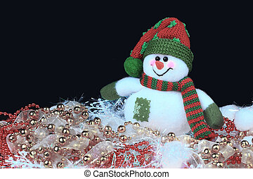 Festive snowman with Christmas in the light background