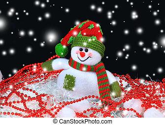 Festive snowman with Christmas light