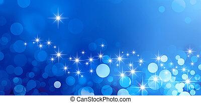 Festive sparkling lights - Shiny blue background in ...