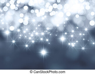 Festive sparkling lights - Shiny silver background in ...