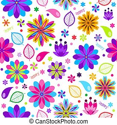 Festive spring seamless pattern with flowers
