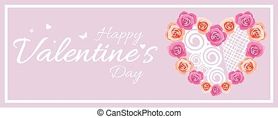 Festive sticker with a wreath of roses for Valentine's Day