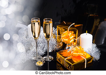 Festive Still Life with Champagne and Gifts