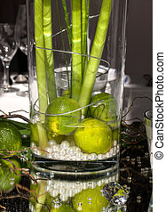 Festive table decoration with limes