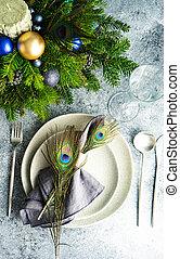 Festive table setting for Christmas dinner