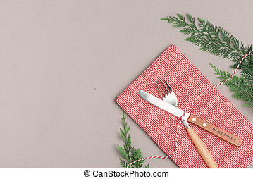 Festive table setting for Christmas holiday dinner with copy space