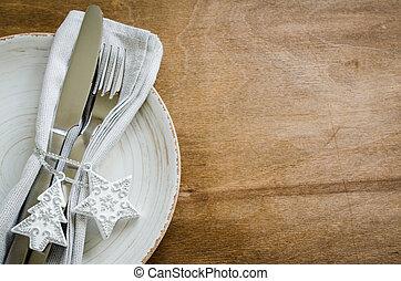 Festive Table Setting for Christmas Holiday.