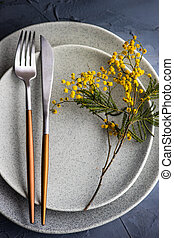 Festive table setting for Easter dinner